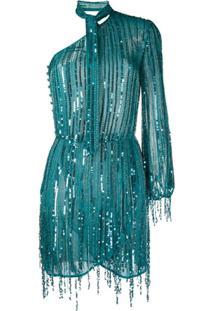 Elisabetta Franchi Vestido Com Bordado De Paetês E Franjas - Azul
