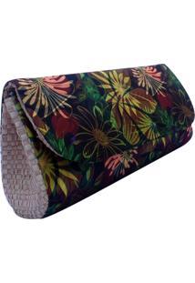 Clutch Carteira De Mão Em Palha Artestore De Buriti E Estampa Natureza Floral
