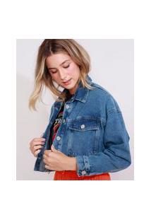 Jaqueta Jeans Feminina Marmorizada Cropped Ampla Com Bolsos Azul Escuro
