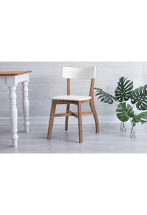 Cadeira De Madeira Para Restaurante Bella - Amêndoa E Branco 44X51X82 Cm