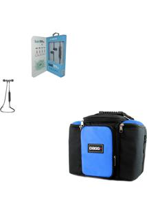 Kit Bolsa Térmica Fitness Azul G Fone De Ouvido Bluetooth Sports