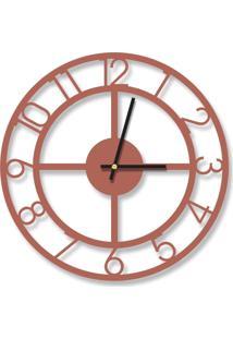 Relógio De Parede Decorativo Premium Cobre Metalizado Números Vazado Médio