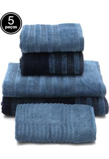 Jogo De Banho 5 Pçs Buddemeyer Elegant Azul 77X135