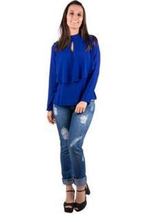 Blusa Banna Hanna Babado - Feminino-Azul