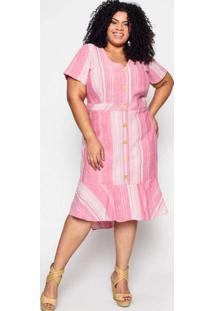 Vestido Almaria Plus Size Pianeta Linho Listrado A