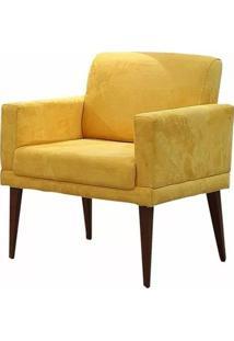 Poltrona Decorativa Para Sala E Escritório Emilia Suede Amarelo