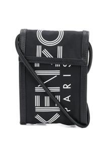 Kenzo Bolsa Transversal Com Estampa De Logo - Preto