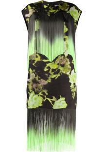 Msgm Vestido Com Franjas E Estampa Floral - Verde