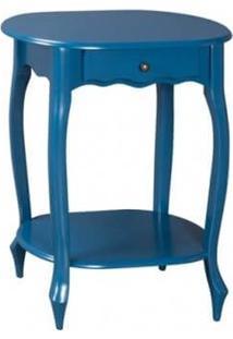 Mesa De Apoio Oval Pés Luiz Xv - Tommy Design - Azul Bic