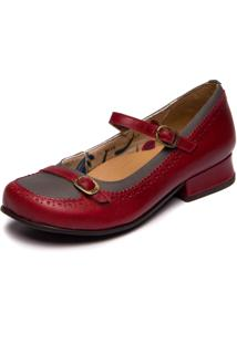 Sapato Mzq Boneca Vermelho Amora / Cinza 7717