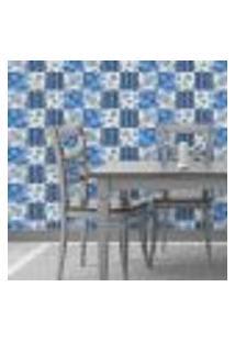 Papel De Parede Autocolante Rolo 0,58 X 3M - Azulejo Flores 129541532