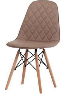 Cadeira Eames Matelasse Cor Fendi Com Base Madeira - 61197 - Sun House