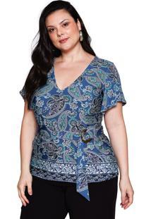 Blusa Almaria Plus Size Pianeta Malha Estampada Vintage