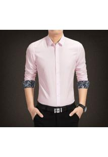 Camisa Masculina Manga Longa Com Detalhe Floral - Rosa
