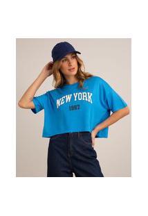 "Camiseta Cropped De Viscose ""New York"" Manga Curta Decote Redondo Azul"