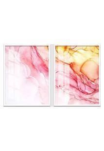 Quadro 65X90Cm Abstrato Espinela Rosa Moldura Branca Sem Vidro Decorativo Interiores
