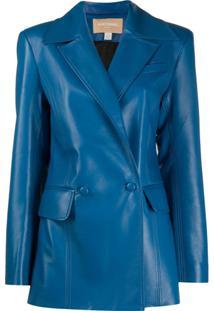 Matériel Blazer Com Bolsos - Azul