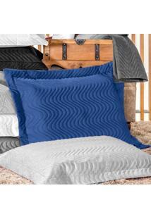 Porta Travesseiro Percal 180 Fios - Juma Azul Royal