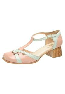 Sapato Bico Quadrado Ref: 3165 Rose / Neo Mint