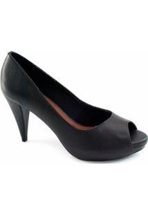 Peep Toe Sapato Show Numeração Especial - Feminino-Preto
