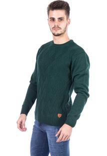 Blusa Tricot Carlan Decote Redondo Locked Verde