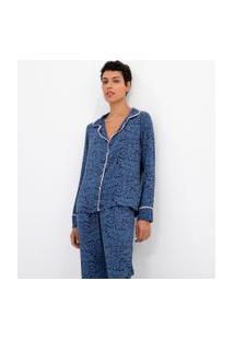 Pijama Americano Manga Longa Estampa Folhagem Com Calça | Lov | Azul | G