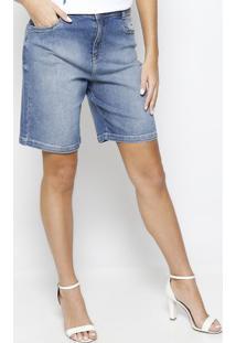 Bermuda Jeans Estonada- Azul Claro- Maria Valentinamorena Rosa
