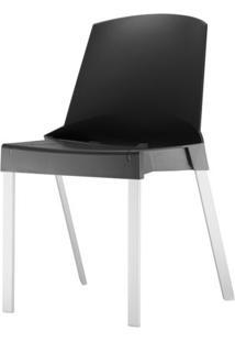 Cadeira Shine Assento Preto Base Aluminio Cinza - 54058 - Sun House