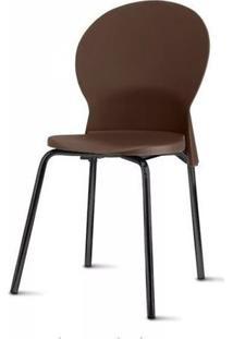 Cadeira Luna Assento Marrom Base Preta - 53845 Sun House