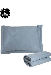 Kit 2Pçs Colcha Solteiro Corttex Living Art Premium Galland 230 Fios Azul