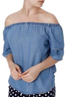 Blusa Jeans Ciganinha Feminina Azul