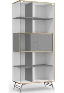Cristaleira 2 Portas De Vidro Pop Kappesberg Branco/Cinza