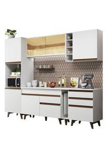 Cozinha Completa Madesa Reims 260004 Com Armário E Balcão Branco Cor:Branco