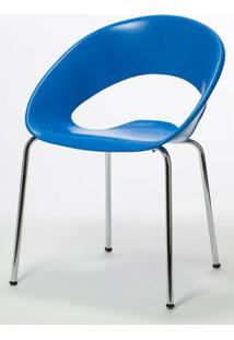 Cadeira One Base Fixa Cromada Cor Azul - 22665 - Sun House
