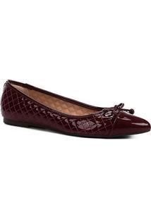 Sapatilha Shoestock Matelassê Verniz Feminina - Feminino-Vinho