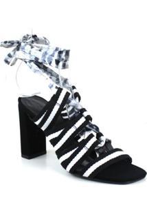Sandália Alto Nobuck Emporionaka Feminina - Feminino-Preto+Branco