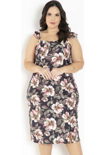 Vestido Floral Com Alças Em Babado Plus Size