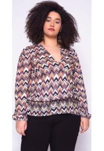 Blusa Almaria Plus Size Ela Linda Estampada Marrom