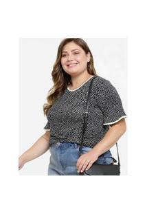 Blusa Feminina Estampa Bolinhas Plus Size Manga Curta