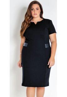 Vestido Plus Size Preto Com Detalhe Em Sintético