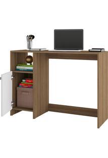 Mesa Para Computador Com 1 Porta E 1 Prateleira Bc 63 - Brv Móveis - Carvalho / Branco