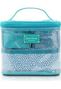 Kit Necessaire Jack Design 4 Em 1 Geométrica - Feminino-Azul Turquesa
