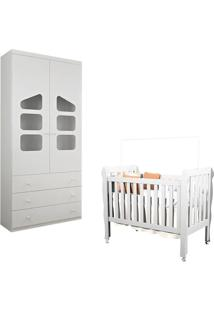 Berço Americano Lila E Guarda Roupa Infantil Eloisa 2 Portas Branco Brilho - Phoenix Baby