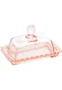 Manteigueira Cristal Pearl Rosa 14X9X8Cm