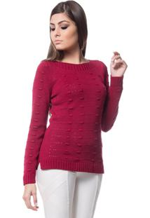 Blusa Tricot Alto Relevo Fenda Lateral Dia A Dia Bordô