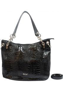 Bolsa Em Couro Recuo Fashion Bag Sacola Croco Preto