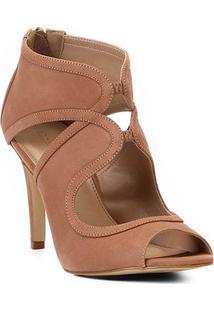 Sandália Shoestock Salto Fino Nobuck Feminina - Feminino-Marrom Claro