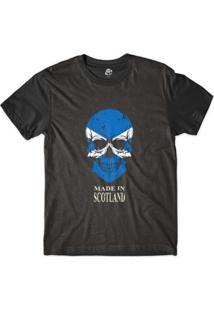 Camiseta Bsc Caveira País Escócia Sublimada Masculina - Masculino-Preto