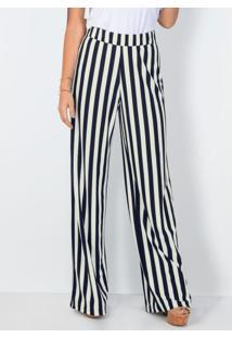 Calça Pantalona Listrada Azul