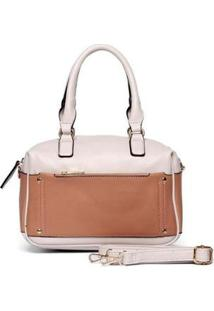 Bolsa Nice Bag Handbag Mão Alça Removível Feminina - Feminino-Nude